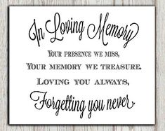 Memorial Printable In Loving Memory Print Table Wedding Sign Poem Our Hearts Reception Instant