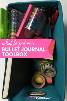 What to put in a bullet journal toolbox?  What is a bullet journal toolbox? It's a handy place to keep all of your  must-have bullet journal essentials including: washi tape, pens, stickers,  and more. What's in your bullet journal toolbox?  Hi Everyone! So today I'm going to be showing you my bullet journal  toolbox.  The box itself is from Target i'm pretty sure. However, I'm sure you can  find one at Bed, Bath & Beyond or the Container Store or someplace like  that. Everything that I'm…