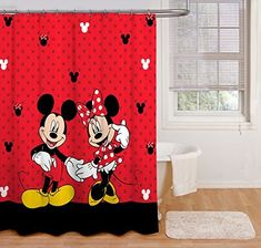 Disney Mickey Mouse and Minnie Mouse 70 x 72 Fabric Shower Curtain Mickey Mouse Shower Curtain, Disney Shower Curtain, Cool Shower Curtains, Striped Shower Curtains, Shower Curtain Hooks, Mickey Mouse Bathroom, Mickey Mouse House, Minnie Mouse, Boys Bedroom Curtains