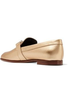 214fa84cc86 Tod s - Metallic Textured-leather Loafers - Gold