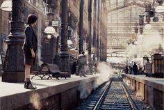 Hugo- Train Station Built from Scratch- Set Design Cabaret, Hugo Movie, Train Illustration, Hugo Cabret, Gangs Of New York, The Age Of Innocence, Film Inspiration, Film Studio, Scenic Design