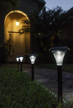 Outdoor Solar Garden Lights, 8-pack brightest super white LED, 2 heights for more decoration options. |  http://landscapeandlighting.net