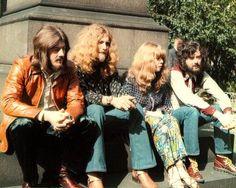John Bonham, Robert Plant, Sandy Denny and Jimmy Page. circa 1971