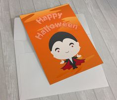 Cute Dracula Halloween Card  #HalloweenCard #HappyHalloween #Dracula #Kawaii #CuteHalloweenCard #FunnyHalloweenCard #Etsy #JollyBunnyDesigns
