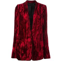 Haider Ackermann crushed velvet blazer (¥209,525) ❤ liked on Polyvore featuring outerwear, jackets, blazers, red, crushed velvet jacket, red blazer, blazer jacket, haider ackermann and red jacket