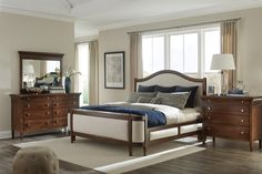 The stunning Prominence Collection by Durham Furniture. Solid Maple, soft close drawers and available in onver 40 finishes! Distressed Wood Furniture, Solid Wood Bedroom Furniture, Find Furniture, Dining Room Furniture, Durham Furniture, White Wood Kitchens, Living Room Wood Floor, Wood Home Decor, Wood Beds