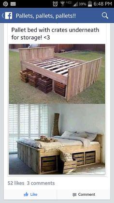 Una cama de pallets. Me gusta. Very smart.