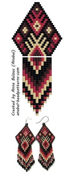 Driving earrings from beads - beaded earrings pattern Beaded Earrings Patterns, Seed Bead Patterns, Peyote Patterns, Jewelry Patterns, Beading Patterns, Placemat Patterns, Do It Yourself Jewelry, Native Beadwork, Seed Bead Jewelry