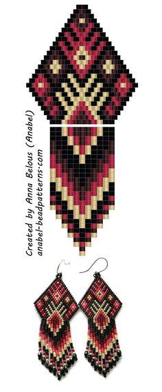 Patrón con cuentas pendientes - pendientes Esquema Bead