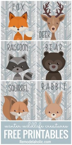 This free set of printable winter woodland creature art is versatile and adorabl.This free set of printable winter woodland creature art is versatile and adorable. Use it as a gift tag, nursery decor, banner, and more. Forest Creatures, Woodland Creatures Nursery, Woodland Creature Baby Shower, Shower Bebe, Woodland Theme, Woodland Nursery Decor, Woodland Art, Animal Decor, Nursery Art