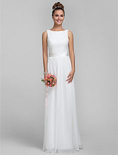 Sheath/Column Bateau Chiffon and Lace Bridesmaid Dress – USD $ 89.69 #00605514