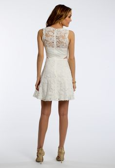Lace Dress with Illusion Neck and Cutout #camillelaive