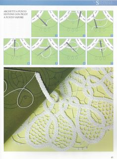 Renaissance Crochet Lace instructions - using a flat crocheted cord (tape, ribbon) and filling in with needle weaving.