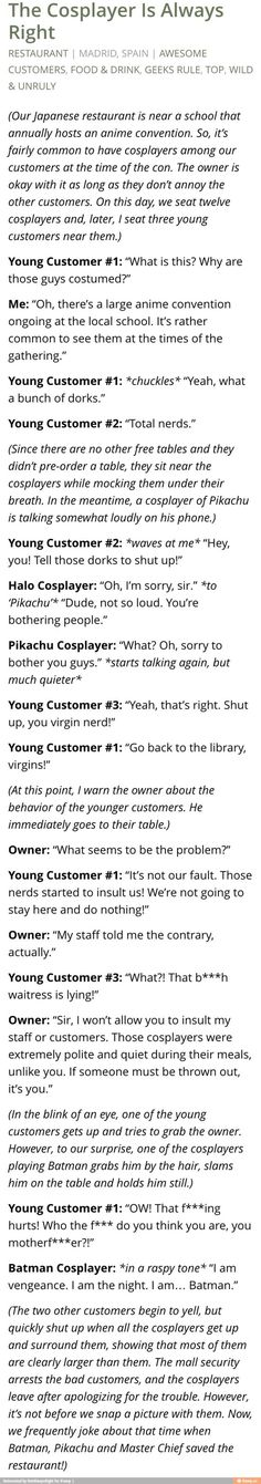 "I didn't bother to read the whole thing I just got to ""young customer #1:chuckles"" and sighed"