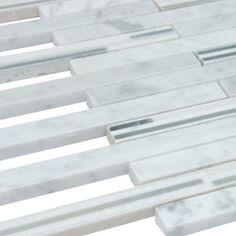 "White Carrara Matte Random Brick Pattern Marble Stone Tiles Product Description Sheet Size: 15"" x 12"" 3/8"" Tile Size: Random Finished: Tumbled HTCESMB3"