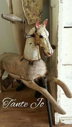 Antique Rocking Horse, Rocking Horse Toy, Vintage Horse, Shabby Chic Antiques, Equestrian Decor, Wooden Horse, Hobby Horse, Horse Sculpture, Pull Toy