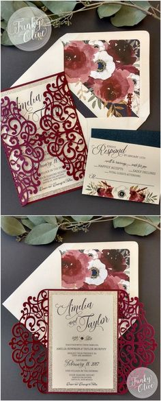 Package Burgundy Navy Gold Glitter Anemone Florals Laser Cut Wedding Invitations
