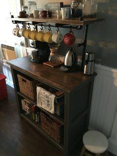 Coffee Bars In Kitchen, Coffee Bar Home, Home Coffee Stations, Coffee Bar Station, Coffee Area, Coffee Corner, Coffee Cup, Coffee Flour, Industrial Furniture