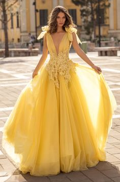 Tarik Ediz - 93927 Beaded Lace Plunging V-Neck Ballgown Ball Gowns Prom, Ball Gown Dresses, Evening Dresses, Prom Dresses, Wedding Dresses, Quince Dresses, Quinceanera Dresses, Yellow Ballgown, Yellow Gown