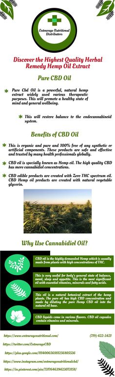 This is very useful for body's general state of balance, mood, sleep and appetite. This is the most significant oil with essential vitamins, minerals and fatty acids. CBD liquids come in various flavors. CBD oil capsules  contain vitamins and minerals. For more details you can visite other official site @ https://www.entouragenutritional.com