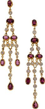 Rhodolite Garnet, Diamond, Gold Earrings. ..