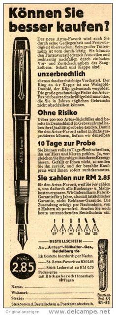 Original-Werbung/Inserat/ Anzeige 1939 - ARTUS FÜLLHALTER HEIDELBERG ca. 70 x 190 mm