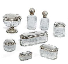 Portuguese Silver  mounted glass dressing table set porto circa 1900 -