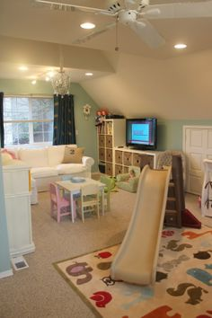 Gender Neutral Nursery and Playroom Cute playroom, but i see a couple things wrong. white couch in kids playroom. this playroom is too perfect. It won't be this clean in real life. Playroom Design, Playroom Decor, Indoor Playroom, Playroom Layout, Loft Playroom, Toddler Playroom, Playroom Organization, Playroom Slide, Organization Ideas
