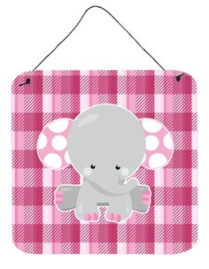 Elephant Pink Gingham Wall or Door Hanging Prints BB6952DS66