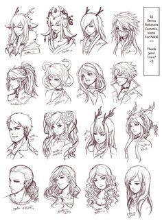 #Art-Drawings, #Character-Design, #Drawing, #Hair, #Hairstyles, #Inspiration, #Manga, #Manga-Art #manga - Inspiration: Hair & Expressions ----Manga Art Drawing Sketching Head Hairstyle---- [[[Batch3 by omocha-san on deviantART]]]