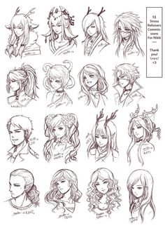 Inspiration: Hair & Expressions ----Manga Art Drawing Sketching Head Hairstyle---- [[[Batch3 by omocha-san on deviantART]]]:
