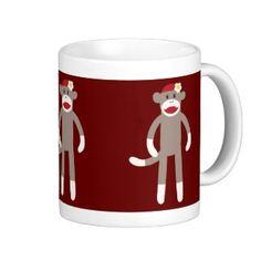 Cute Girl Sock Monkey on Red Coffee Mug