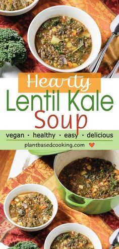 Hearty Lentil Soup with Kale - Warm and cozy and oh so satisfying this easy-to-make lentil soup has potatoes and kale to up your nutrient quotient. All plant-based goodness. Lentil Kale Soup, Lentil Soup Recipes, Healthy Soup Recipes, Delicious Vegan Recipes, Chili Recipes, Vegetarian Recipes, Healthy Food, Diet Recipes, Veggie Soup