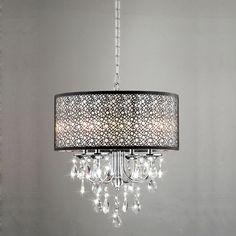 Indoor 4-light Chrome/ Crystal/ Metal Bubble Shade Chandelier | Overstock.com$163