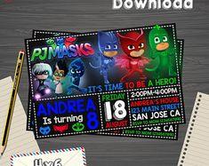 Pj masks Invitation, Pj masks Birthday, Pj masks Party, Pj masks Printable, Pj masks Editable, Pj masks PDF,Pj masks party birthday,Pj masks