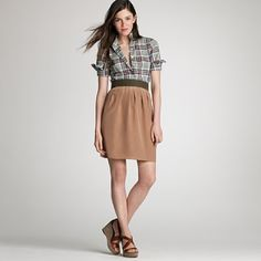 j. crew petal midi skirt in weathered wood.