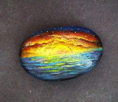 Painted Rock Stone Paperweight with sunset tropical by DreamRelic, $50.00
