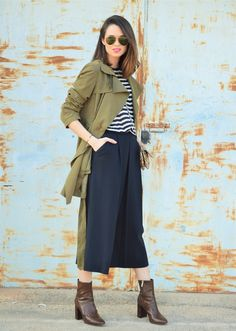 #culotte #black #trench #kaki #stripes #basics #trend #streetstyle #casual #lookfortime  #look #ootd