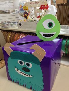 monster's inc card box! Monster 1st Birthdays, Monster Inc Party, Monster Birthday Parties, 2nd Birthday Parties, Baby Birthday, Monster University Party, Birthday Ideas, Baby Shower Fun, Baby Shower Parties