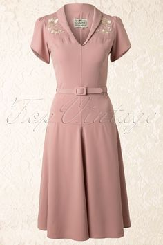 Collectif Clothing - 40s Hetti Tea Dress Pink