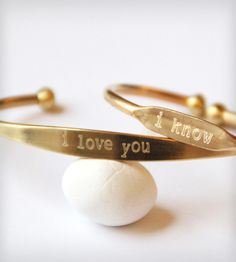 Lovers Talk Engraved Cuffs - Set of 2 by Jook & Nona