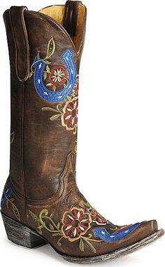 Brown & blue cowboy boots.