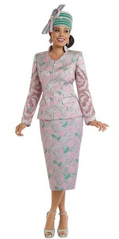 Donna Vinci 5563 Womens Brocade Skirt Suit With Pink Pearl Trims