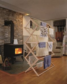 Extra Large Amish Handmade Soft Maple Wood Clothes Drying Rack x x Lancaster Pennsylvania Green Save Carpenter USA America Energy Efficient Laundry Hanger, Drying Rack Laundry, Clothes Drying Racks, Laundry Closet, Small Laundry, Laundry Rooms, Standing Clothes Rack, Drying Room, Rack Design