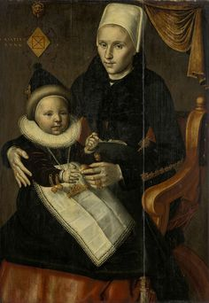 Mother and Child in Noord-Holland Costume, Jan Claesz. (attributed to), 1601 - Rijksmuseum Dutch People, Renaissance, Mother And Child, Middle Ages, 17th Century, Family Portraits, Amazing Art, Netherlands, Holland