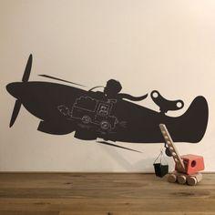 Kek Amsterdam muursticker krijtbord vliegtuig