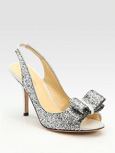 amazing Kate Spade bridal shoes....perfect for NYE    New York - Charm Glitter Slingbacks - Saks.com