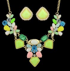 Bohemian Style Necklace & Earring Set - Gold Shade chain with Charteuse & P