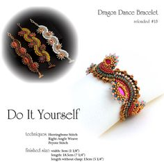 step by step INSTANT download Pdf beading PATTERN by shila66 Dragon Dance pattern of original bracelet in Beadwork Magazine 04-05/2012