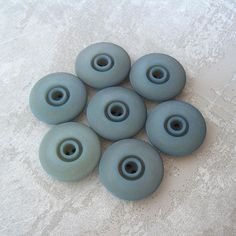 Stormy Blue Buttons 29mm 1-1/8 inch  Retro Mod Seaside Blue